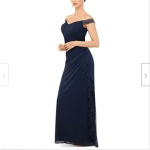 Betsy Adam Off Shoulder Ruched Gown Studded Navy